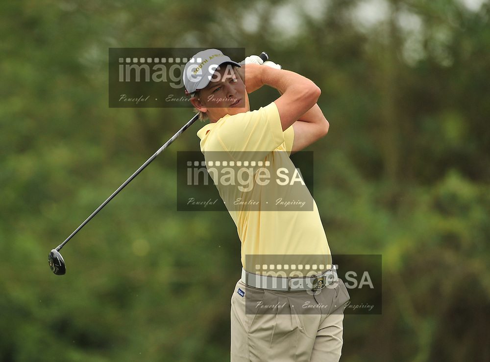 MALELANE, SOUTH AFRICA - Wednesday 18 February 2015, Stefan Cronje of South Africa tees off on the 4th during the first round foursomes of the annual Leopard Trophy, a two day test between teams of the South African Golf Association and the Scottish Golf Union, at the Leopard Creek Golf Estate.<br /> Photo Roger Sedres/ Image SA