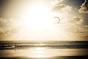 A kiteboarder rides the winds on the Pacific Ocean, Muriwai Beach, New Zealand.