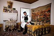 Zisis Dimou in his room. He is one of the elders of the village and quite proud of his ancestry (Vlach) and his skills as a dancer of traditional dances. His house is one of the most traditional in the village.