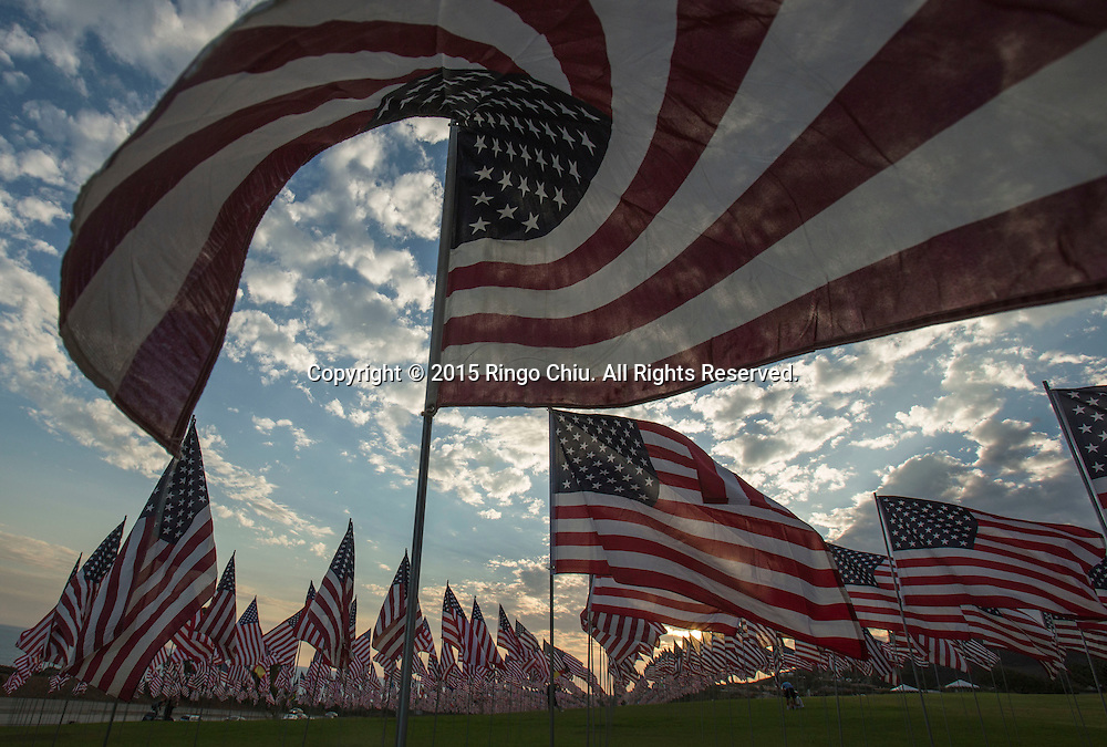 3,000 US flags are displayed at Pepperdine University to mark the 14th anniversary of the 9/11 terror attack, September 10, 2015 in Malibu, California.Photo by Ringo Chiu/PHOTOFORMULA.com)