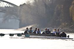 08.12.2010 LONDON, River Thames. Rowing. Boat Race 2010 Trial Eights. Cambridge University winning crew 'Shake'. Bow to Stern, Jamie LOGIE, Andrew VIQUERAT, James STRAWSON, Ben EVANS, Dan RIX-STANDING, Hardy CUBASCH, George NASH, Joel JENNINGS, Tom FIELDMAN (Cox).