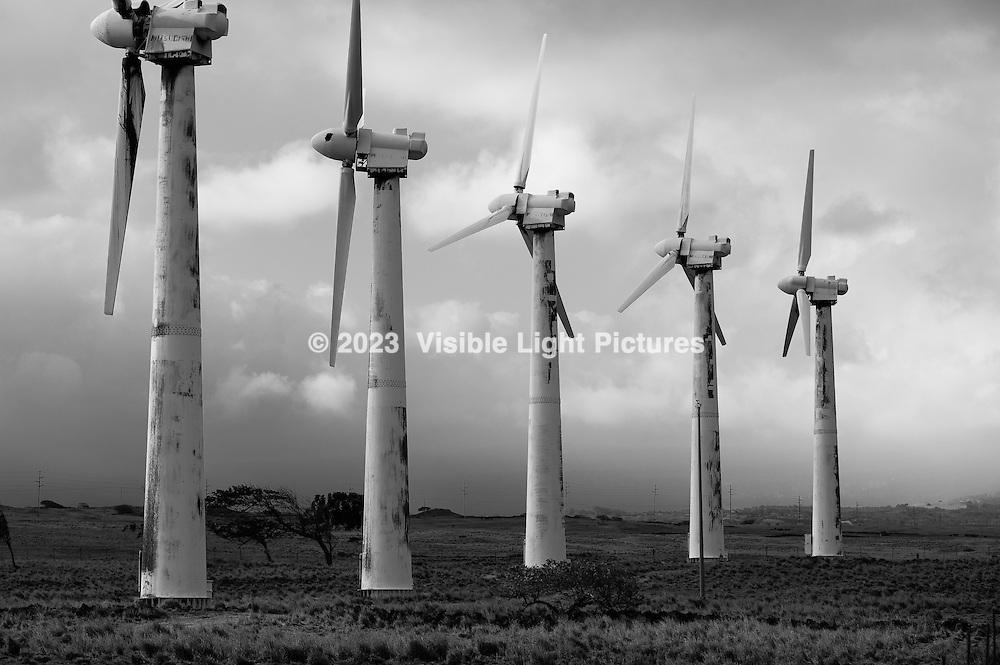 Broken windmills at Ka Lea South Point on the big island of Hawaii.