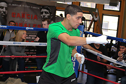 October 16, 2012; New York, NY; USA; Danny Garcia works out for the media ahead of his fight against Erik Morales Saturday night at the Barclay's Center in Brooklyn, NY.