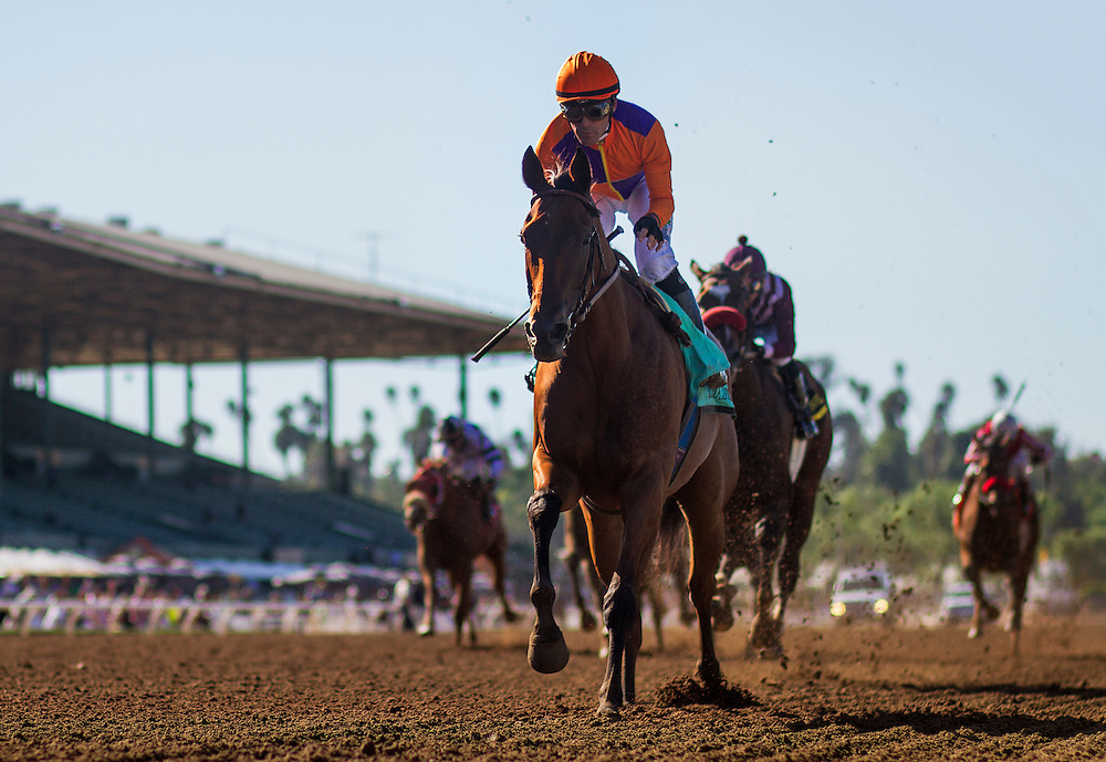 September 26 2015: Beholder with Gary Stevens up wins the Zenyatta Stakes at Santa Anita Park, Arcadia CA. Alex Evers/ESW/CSM