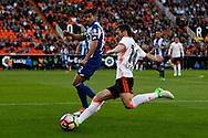Valencia CF vs Deportivo La Coruña - La Liga Matchday 29 - Estadio Mestalla, in action during g the game -- Jose Luis Gayá (right) left defender for Valencia CF centers the ball with the opposition of Juanfran Moreno (left) for Deportivo La Coruña