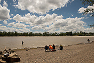 Paddlefish, fishermen, Intake Diversion Dam, Yellowstone River,  south of Sidney Montana
