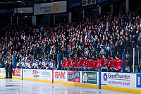 KELOWNA, CANADA - APRIL 14: The Kelowna Rockets and the Portland Winterhawks stand on the bench for the national anthems on April 14, 2017 at Prospera Place in Kelowna, British Columbia, Canada.  (Photo by Marissa Baecker/Shoot the Breeze)  *** Local Caption ***