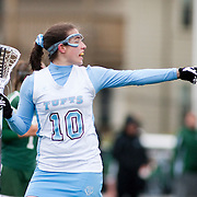 20110405 - Medford/Somerville, Mass. -  Tufts midfielder Eliza Halmo (A14) calls out to a teammate after a score against Babson at Bello Field on April 5, 2011. (Kelvin Ma/Tufts University)