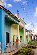 Colorful houses in Moron, Ciego de Avila, Cuba.