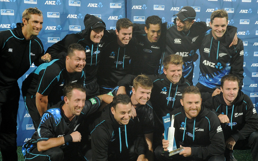 New Zealand celebrate their win over the West Indies in the series in the second T20 International cricket match, Westpac Stadium, Wellington, New Zealand, Wednesday, January 15, 2014. Credit:SNPA / Ross Setford