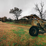A burnt tractor abandoned after some of the most devastating fires in portuguese history, Portugal.
