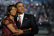 U.S. Senator Barack Obama hugs his wife Michelle after his acceptance speech to become the Democratic party's candidate for president August 28, 2008 in Denver, Colorado
