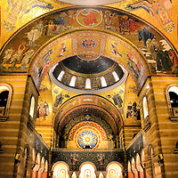 Mosaics Inside Cathedral Basilica of Saint Louis in Saint Louis, Missouri<br /> It took 76 years to install the 41.5 million pieces of glass into the mosaics adorning the 83,000 square feet of the Cathedral Basilica of Saint Louis. The world&rsquo;s largest mosaic contains more than 7,000 colors. The word &ldquo;impressive&rdquo; is an understatement. The arches supporting the domes have religious scenes ranging from Adam and Eve to the Ascension of Jesus, plus images of American saints.
