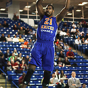 Westchester Knicks Forward Orlando Sanchez (21) dunks  in the first half of a NBA D-league regular season basketball game between the Delaware 87ers and the Westchester Knicks (New York Knicks) Sunday, Dec. 28, 2014 at The Bob Carpenter Sports Convocation Center in Newark, DEL