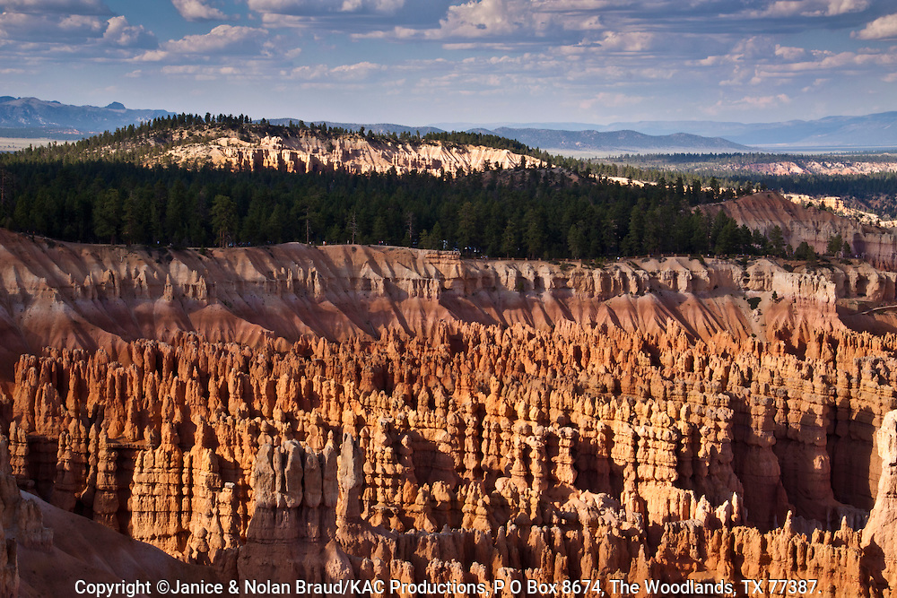 Evening light just before sunset on hoodoos and rock formations at Inspiration Point in Bryce Canyon National Park in Utah..