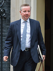 Downing Street, London, September 8th 2015.  Chief Whip Michael Gove  leaves 10 Downing Street following the first cabinet meeting after the summer holidays, prior to a debate in the House of Commons on the refugee crisis.