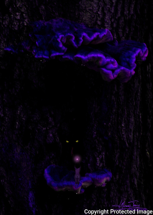 Amid glowing shelf fungi, a forest imp makes an offering to a reptilian tree god.