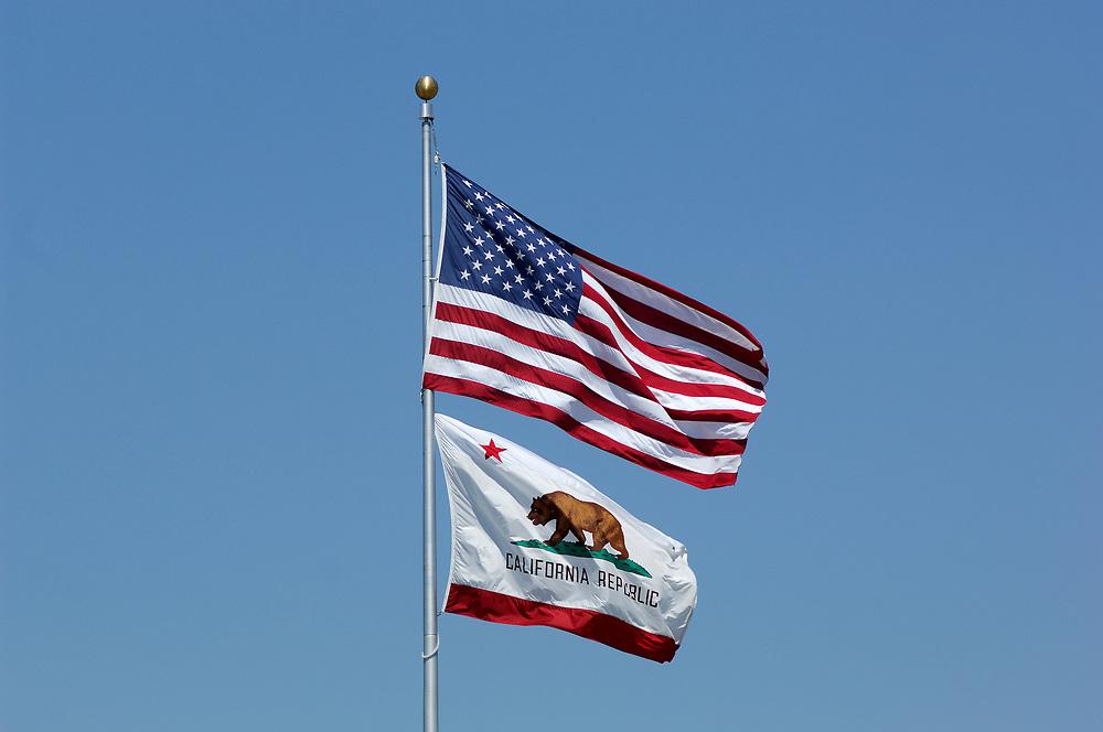 USA and California Flag, Salinas, California, United States of America