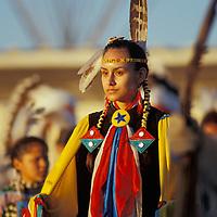 Woman dancer at North American Indian Days celebration,Pow wow, Browning, Montana,USA