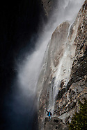 Winter scenes in Yosemite Valley located in the Yosemite National Park..Lower Yosemite Fall in the winter.