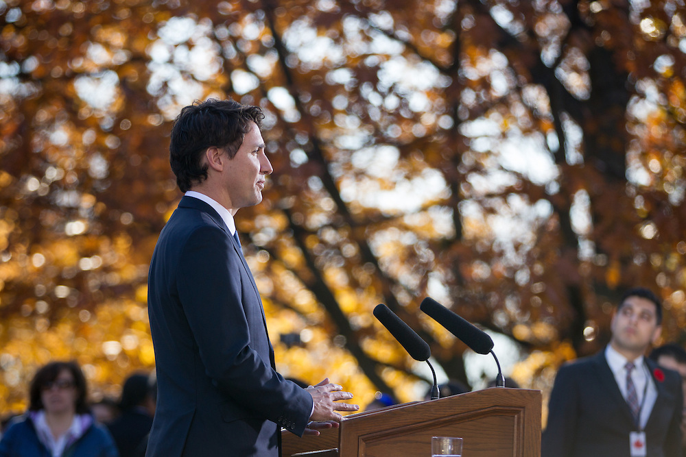 Prime Minister Justin Trudeau speaks at a press conference at Rideau Hall after being sworn in as Canada's 23rd Prime Minister in Ottawa, Ontario, November 4, 2015.<br /> AFP PHOTO/ GEOFF ROBINS