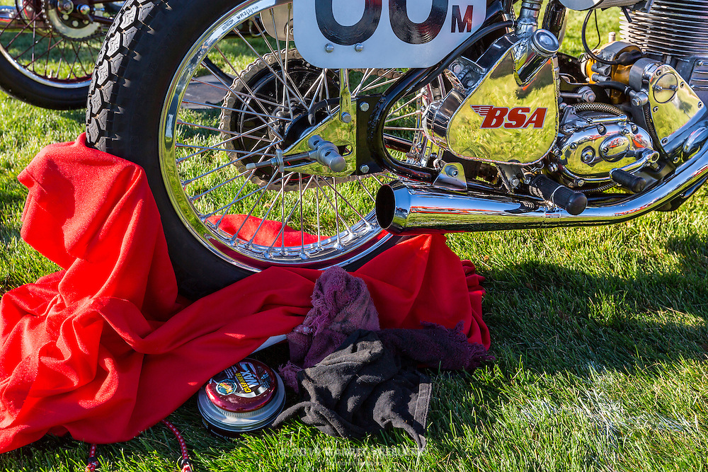 1956 BSA CB Gold Star, detail with cleaning products, at the 2012 Santa Fe Concorso.