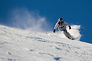 Skiers enjoy a sunny winter day on Mammoth Mountain, Calif., January 28, 2011.