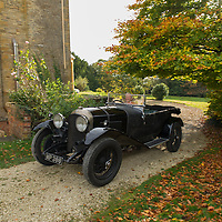 "Julian Majzub, founder / owner of ""Blockley tyre"" at home in Gloucestershire. Bentley  4 1/2 liter from 1927."