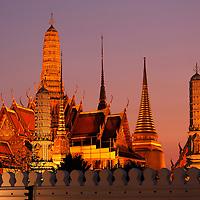 Dusk at Wat Phra Kaew at Grand Palace, Old City, Bangkok, Thailand