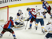 SHOT 2/25/17 10:04:49 PM - Buffalo Sabres' goalie Robin Lehner #40 makes a save in front of the Colorado Avalanche's Matt Nieto #83 during their NHL regular season game at the Pepsi Center in Denver, Co. The Avalanche won the game 5-3. (Photo by Marc Piscotty / © 2017)