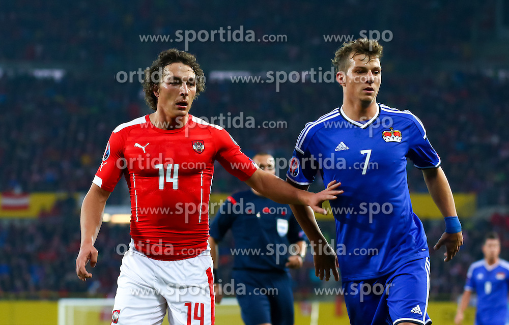 12.10.2015, Ernst Happel Stadion, Wien, AUT, UEFA Euro 2016 Qualifikation, Österreich vs Liechtenstein, Gruppe G, im Bild Julian Baumgartlinger (AUT), Marcel Büchel (LIE) // the UEFA EURO 2016 qualifier group G match between Austria and Liechtenstein at the Ernst Happel Stadion, Vienna, Austria on 2015/10/12. EXPA Pictures © 2015 PhotoCredit: EXPA/ Sebastian Pucher