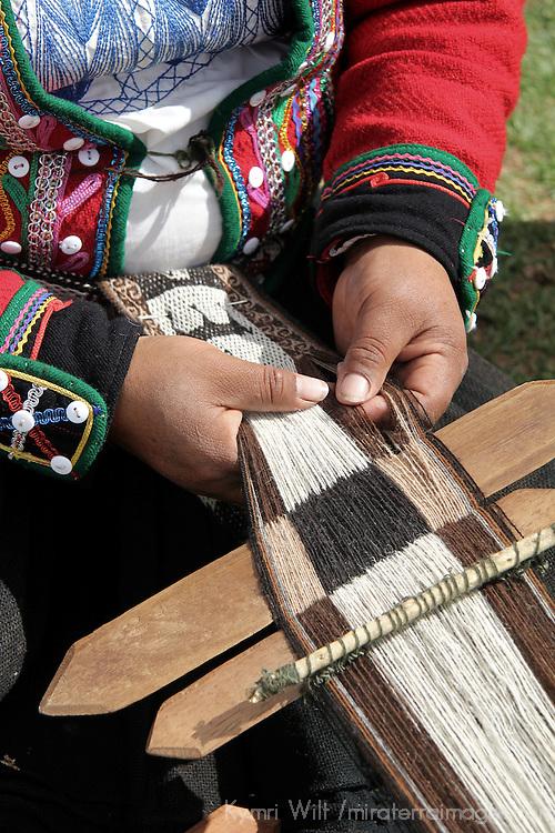 South America, Peru, Chinchero. The art of traditional weaving in Peru.