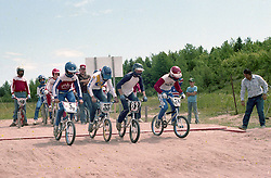 Frank Bink, John Duflo, Jim Mercure, and Ron Young,.Northstate BMX, Marquette, MI, 1982