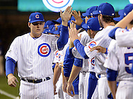 CHICAGO, IL - OCTOBER 15:  Anthony Rizzo #44 of the Chicago Cubs greet teammates during player introductions prior to Game 1 of NLCS against the Chicago Cubs at Wrigley Field on Saturday, October 15, 2016 in Chicago, Illinois. (Photo by Ron Vesely/MLB Photos via Getty Images) *** Local Caption *** Anthony Rizzo