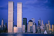 Twin Towers, World Trade Center, designed by Minoru Yamasak, New York, New York City, Lower Manhattan Skyline, Dusk, Hudson River