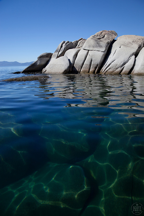 """Boulders at Lake Tahoe 6"" - These boulders were photographed from a kayak early in the morning at Lake Tahoe, near Speed Boat Beach."