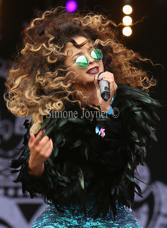 LONDON, ENGLAND - JULY 17: Singer Ella Eyre perofrms live on the main stage during day one of Lovebox Festival 2015 at Victoria Park on July 17, 2015 in London, England.  (Photo by Simone Joyner/WireImage)