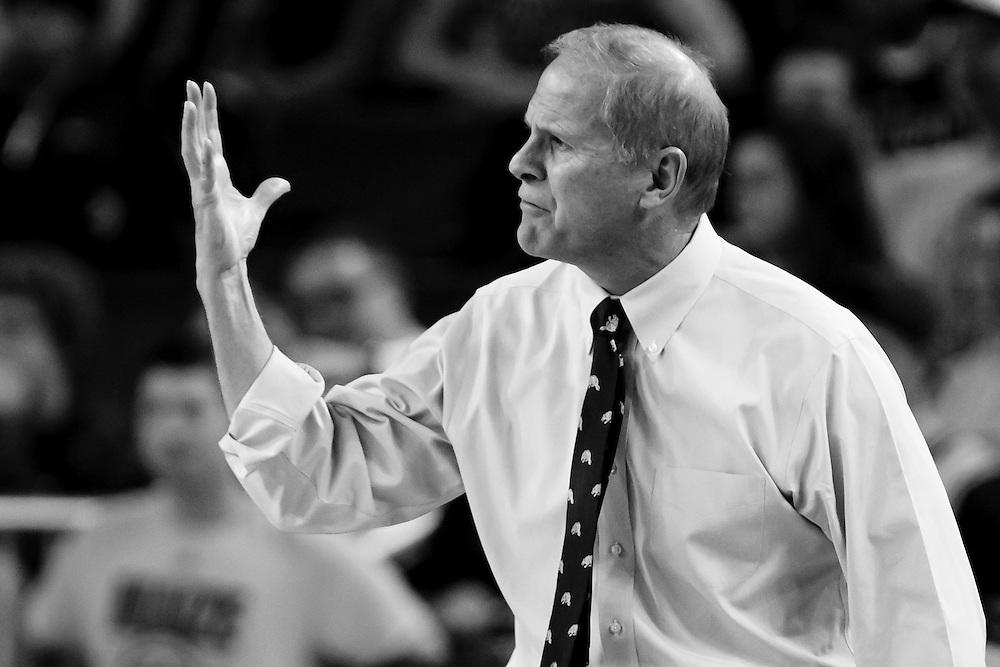 Nov 13, 2015; Ann Arbor, MI, USA; Michigan Wolverines head coach John Beilein reacts against Northern Michigan Wildcats at Crisler Center. Mandatory Credit: Rick Osentoski-USA TODAY Sports