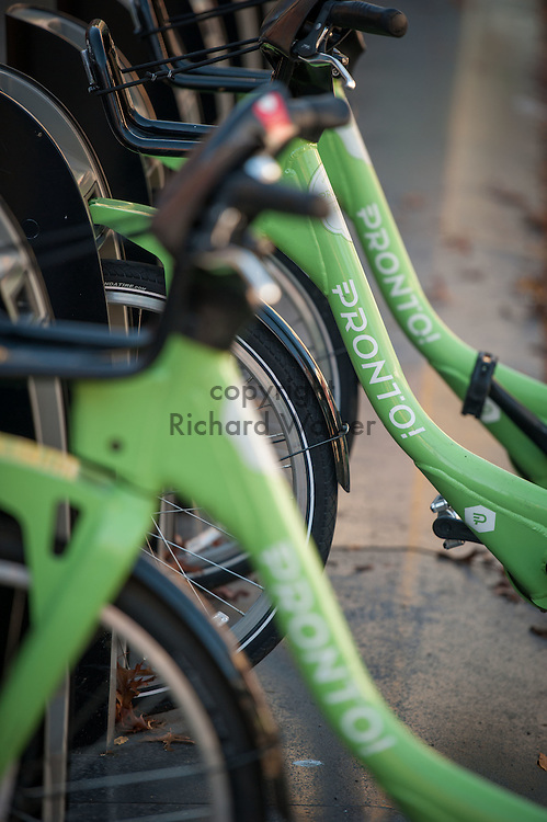 2016 October 11 - Pronto bicycles at a rack in the University District, Seattle, WA, USA. By Richard Walker