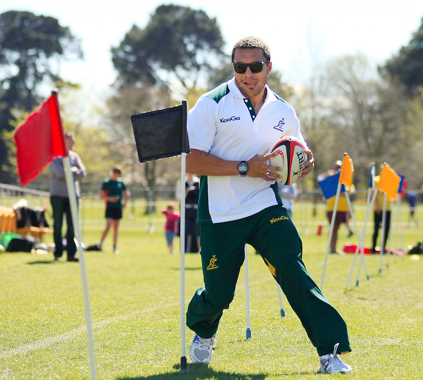 Injured Australian player Digby Ioane at a skills session with intermediate school pupils at Fanzone, North Hagley Park, Christchurch, New Zealand, Wednesday, September 28, 2011.  Credit:SNPA / Pam Johnson