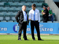 Bristol Rovers Manager Darrell Clarke with Nick Higgs - Mandatory byline: Neil Brookman/JMP - 07966 386802 - 19/09/2015 - FOOTBALL - Home Park - Plymouth, England - Plymouth Argyle v Bristol Rovers - Sky Bet League Two