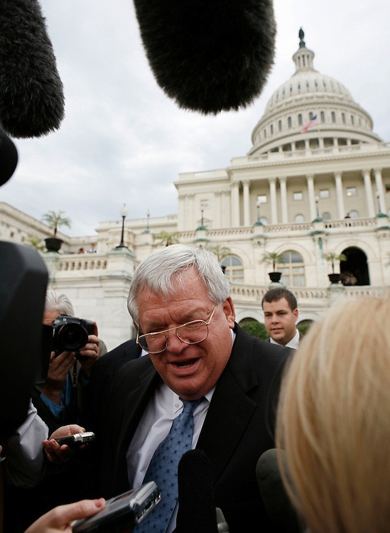 "Speaker of the House Dennis Hastert (R-IL) speaks to reporters about Wednesday's ABC News report that he is under investigation after a Memorial Day rally on Capitol Hill in Washington, May 25, 2006. Hastert might sue ABC News for libel and defamation for the news report that said he was ""in the mix"" in a corruption investigation, according to a letter sent by Hastert's lawyers.  REUTERS/Joshua Roberts"