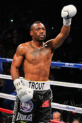 Dec 1, 2012; New York, NY, USA; Austin Trout enters the ring for his 12 round WBA Super Welterweight Championship bout against Miguel Cotto (not shown) at Madison Square Garden.
