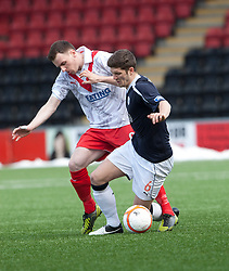 Airdrie United's John Boyle and Falkirk's Stewart Murdoch ..half time : Airdrie United 0 v  0 Falkirk, 30/3/2013..©Michael Schofield..