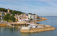 The Royal Yacht Squadron at the entrance to the Medina River in Cowes on the Isle of Wight. The famous club is 200 years old in 2015.<br /> Picture date: Sunday August 16, 2015.<br /> Photograph by Christopher Ison &copy;<br /> 07544044177<br /> chris@christopherison.com<br /> www.christopherison.com