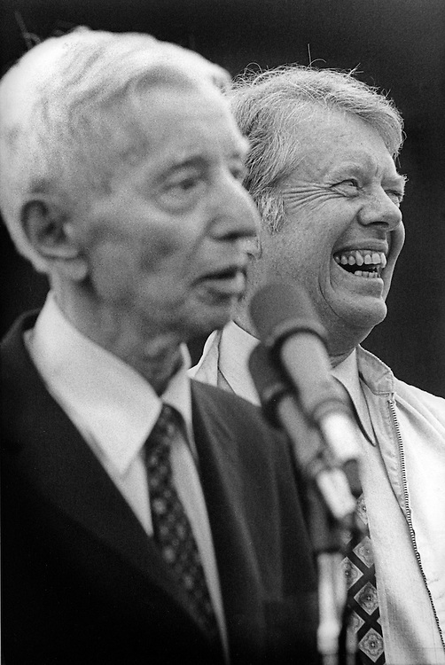 """President Jimmy Carter,  and Admiral Hyman Rickover - known as """" The Father of the Nuclear Navy """" and Carter's former commanding officer, after an afternoon aboard the nuclear submarine USS Los Angeles at Port Canaveral, Florida. After boarding, the Los Angeles departed for an afternoon of sea trials. President Carter served under Rickover during his Naval career. - To license this image, click on the shopping cart below -"""