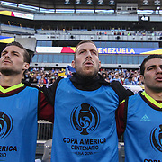 Venezuela players sing The National Anthem prior to a Copa America Centenario Group C match between Uruguay and Venezuela Thursday, June. 09, 2016 at Lincoln Financial Field in Philadelphia, PA.