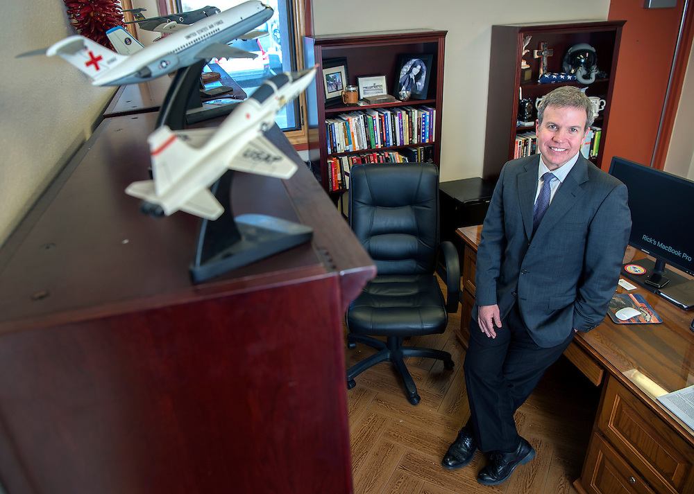 em120716a/jnorth/Richard J. Bailey, Jr. is the new president of Northern New Mexico College. The former U.S. Air Force pilot has models of the aircraft he few displayed in his office. Photo shot Wednesday December 6, 2016.(Eddie Moore/Albuquerque Journal)