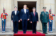22-11-2013 COLOMBIA – BOGOTA King Willem Alexander of the Netherlands and Queen Maxima in BOGOTA and meet the president Juan Manuel Santos of Colombia at the presidential palace Casa de Narino . COPYRIGHT ROBIN UTRECHT