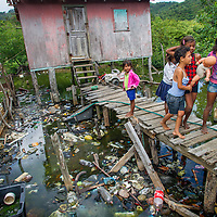 Slum in the Mexicos area of Guanaja Island on Honduras.  The slum in in the middle of a mangrove area.